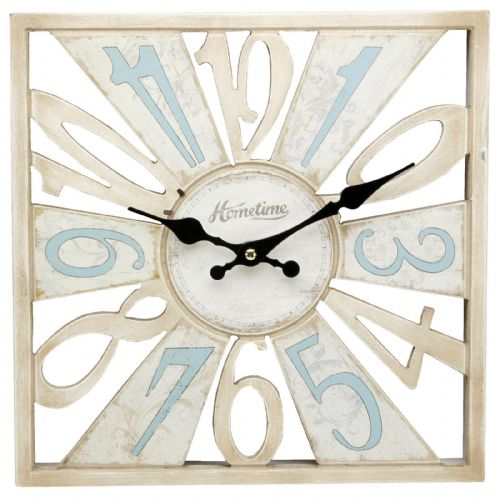 Cut Out Wooden Wall Clock Duck Egg Blue & Cream Shabby Chic Wall Clock 30cm Square Hometime Clocks